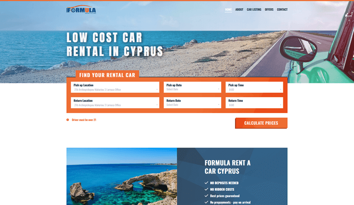Formula Cyprus | Low cost rent a car in Cyprus
